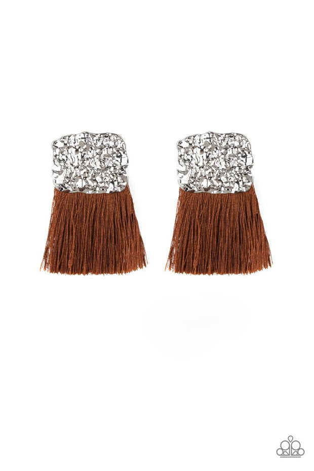 Paparazzi Plume Bloom - Brown - Thread / Fringe / Tassel - Hammered Silver Frame - Post Earrings - Glitzygals5dollarbling Paparazzi Boutique