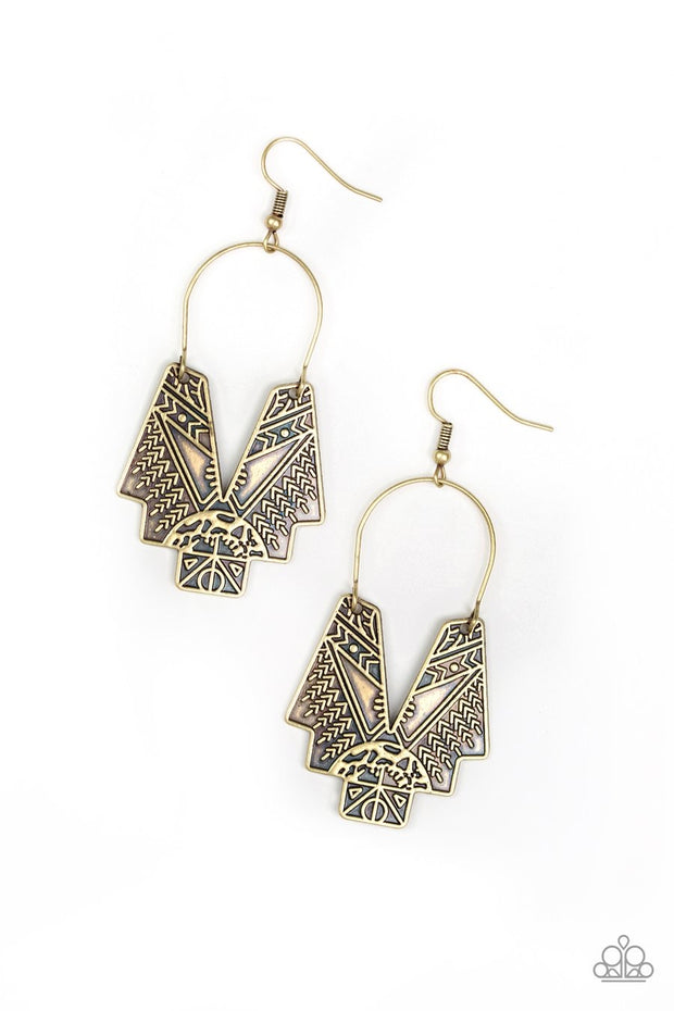 Alternative Artifacts - brass - Paparazzi earrings