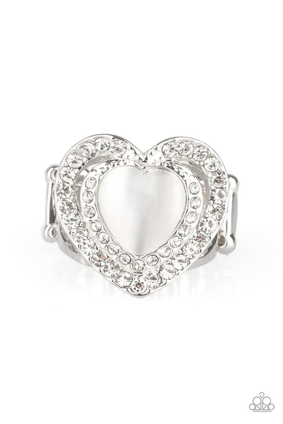 Paparazzi What The Heart Wants - White - Cat's Eye Moonstone - Silver Heart Ring