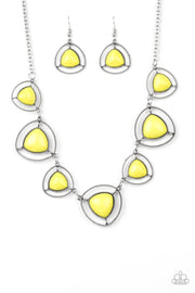 Make A Point Yellow – Paparazzi Necklace - Glitzygals5dollarbling Paparazzi Boutique