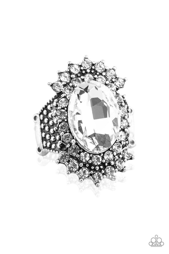 Paparazzi Him and HEIR - White Rhinestone - Studded Statement - Ring