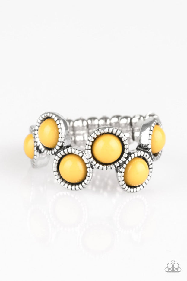 Paparazzi Foxy Fabulous - Yellow beads - Silver Ring - Glitzygals5dollarbling Paparazzi Boutique