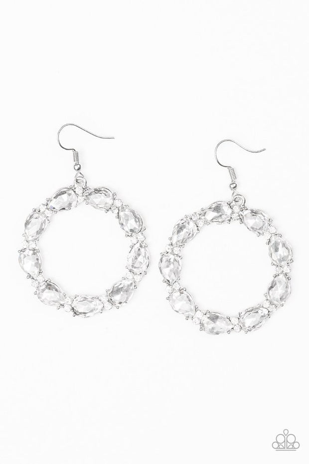 "Paparazzi ""Ring Around The Rhinestones"" White Earrings - Glitzygals5dollarbling Paparazzi Boutique"