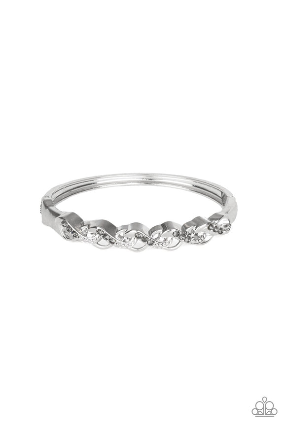 Paparazzi Infinite Sparkle Silver Bangle Hinge Bracelet