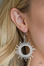 Paparazzi All Sizzle Silver Earrings - Glitzygals5dollarbling Paparazzi Boutique