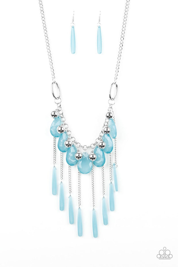Paparazzi Roaring Riviera - Blue - Teardrops - Silver Chains - Necklace & Earrings - Glitzygals5dollarbling Paparazzi Boutique