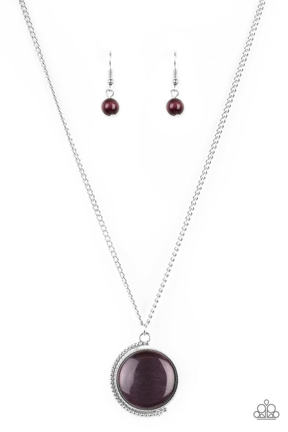 Paparazzi Luminous Lagoon - Purple Moonstone - Silver Necklace and matching Earrings