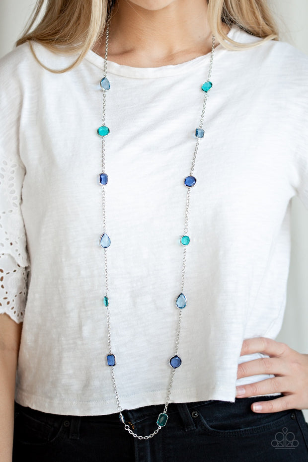 "Paparazzi ""Glassy Glamorous"" Multi Blue Necklace - Glitzygals5dollarbling Paparazzi Boutique"