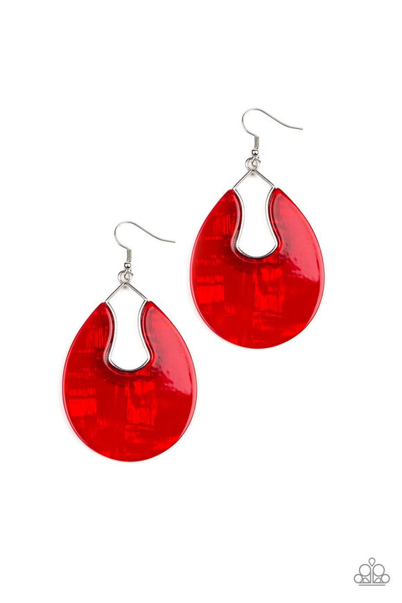 Paparazzi Pool Hopper - Red - Faux Marble - Shimmering Acrylic Frame - Silver Earrings