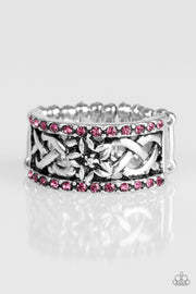 Paparazzi Tropical Springs - Pink Rhinestones - Silver Ring - Glitzygals5dollarbling Paparazzi Boutique