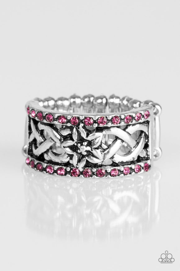 Paparazzi Tropical Springs - Pink Rhinestones - Silver Ring