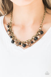 Paparazzi The GRIT Crowd - Black - Necklace and matching Earrings - Glitzygals5dollarbling Paparazzi Boutique