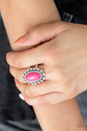 Paparazzi Mineral Movement - Pink Stone - Studded Silver Ring - Glitzygals5dollarbling Paparazzi Boutique