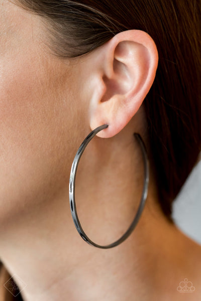 PREORDER Full On Radical - Black Gunmetal Hoop Paparazzi Earrings Fashion Fix Exclusive - Glitzygals5dollarbling Paparazzi Boutique