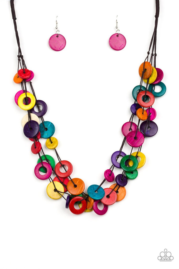 Paparazzi Wonderfully Walla Walla - Multi - Wooden Necklace - Glitzygals5dollarbling Paparazzi Boutique