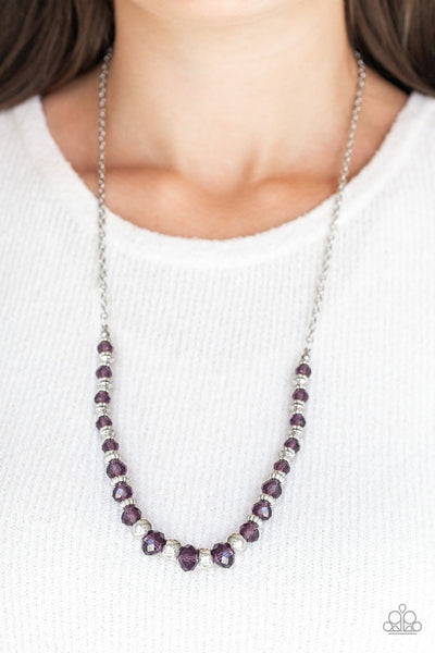 Paparazzi Stratosphere Sparkle - Purple - Silver Necklace and matching Earrings - Glitzygals5dollarbling Paparazzi Boutique