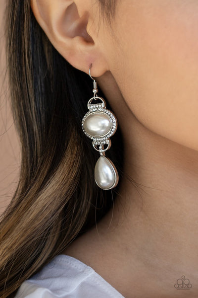 Paparazzi Icy Shimmer - White - Teardrop Bead - White Rhinestones - Earrings