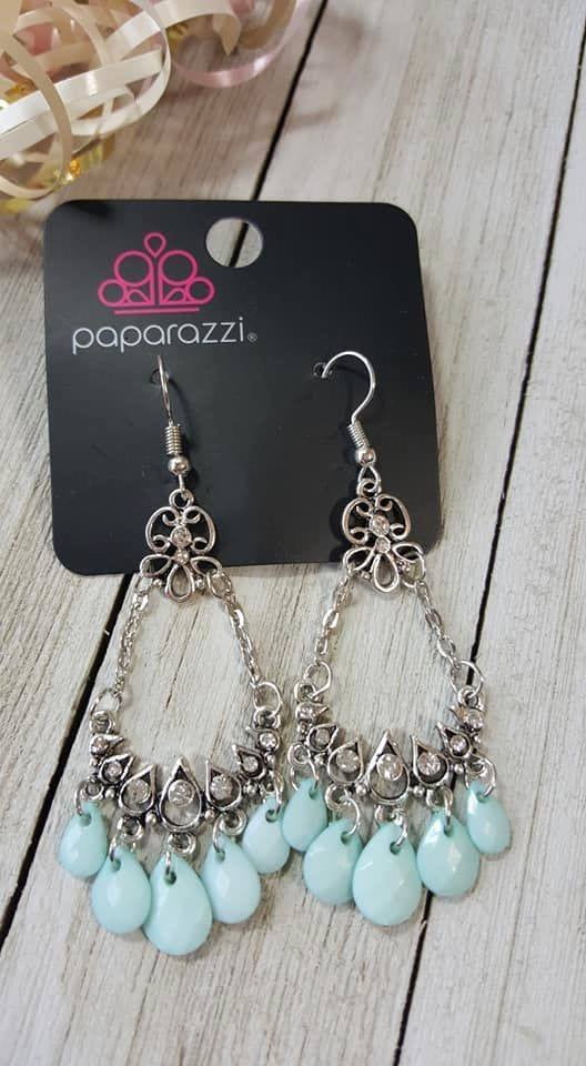 Paparazzi Malibu Sunset Blue Earrings Exclusive - Glitzygals5dollarbling Paparazzi Boutique