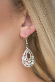 "Paparazzi ""Sparkling Stardom"" White Earrings - Glitzygals5dollarbling Paparazzi Boutique"