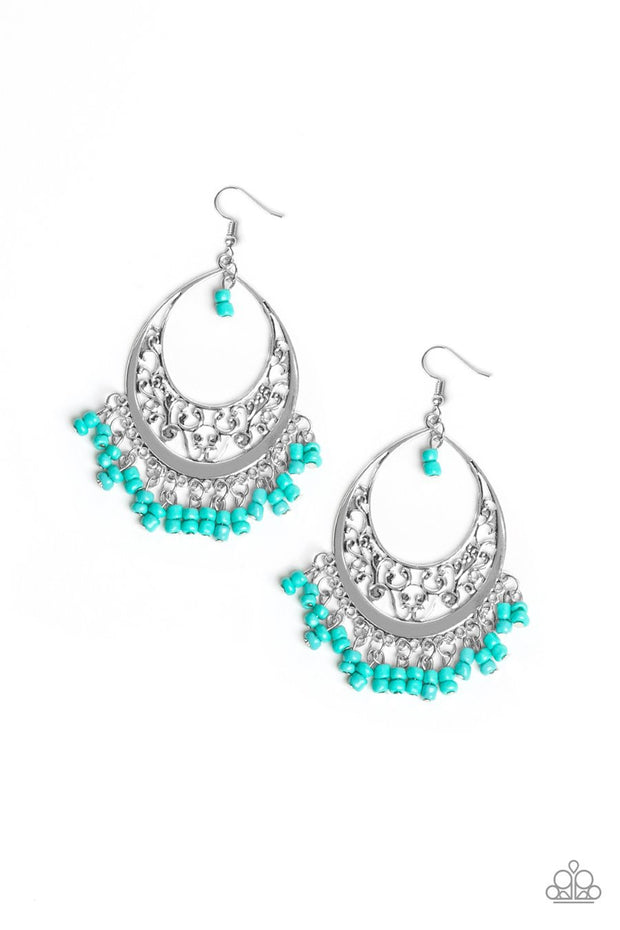 Paparazzi Malibu Mamba - Blue Seed Beads - Silver Hoop Earrings - Glitzygals5dollarbling Paparazzi Boutique
