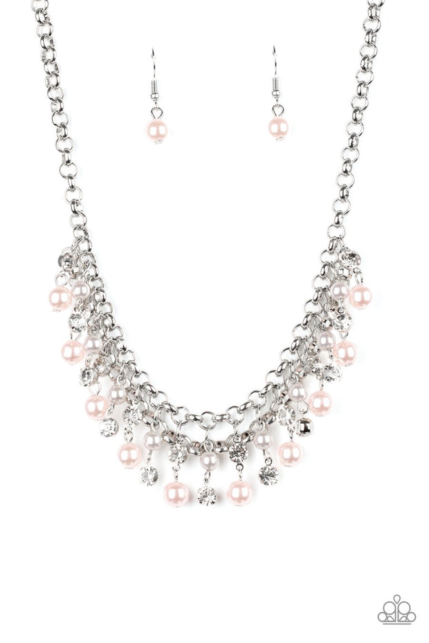 Paparazzi You May Kiss the Bride - Multi - Pink and Silver Pearls - White Rhinestones - Necklace & Earrings