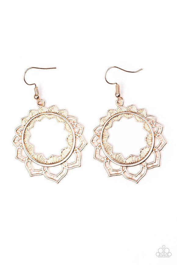 Paparazzi Modest Mandalas - Rose Gold - Ornate Hoop - Earrings