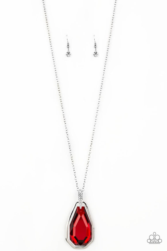 Paparazzi Maven Magic - Red Gem - White Rhinestones - Silver Chain Necklace and matching Earrings