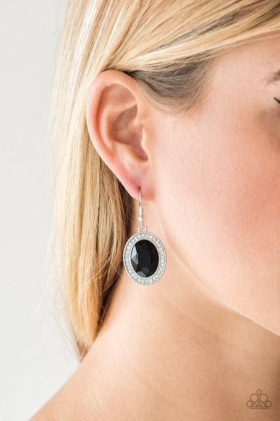 Paparazzi Only FAME In Town - Black Gem - Rhinestone Earrings