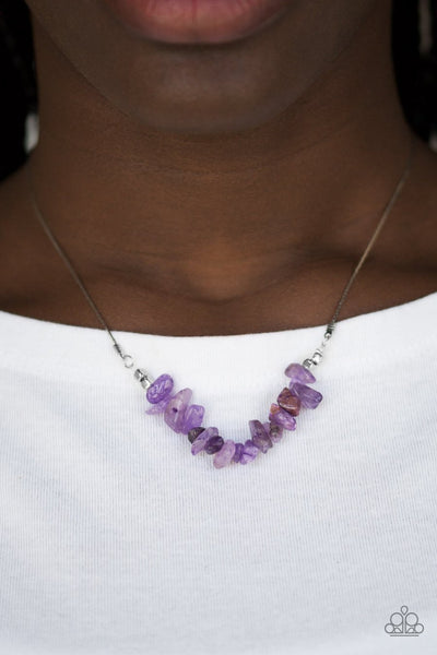 Paparazzi Back To Nature - Purple - Silver Necklace and matching Earrings - Glitzygals5dollarbling Paparazzi Boutique