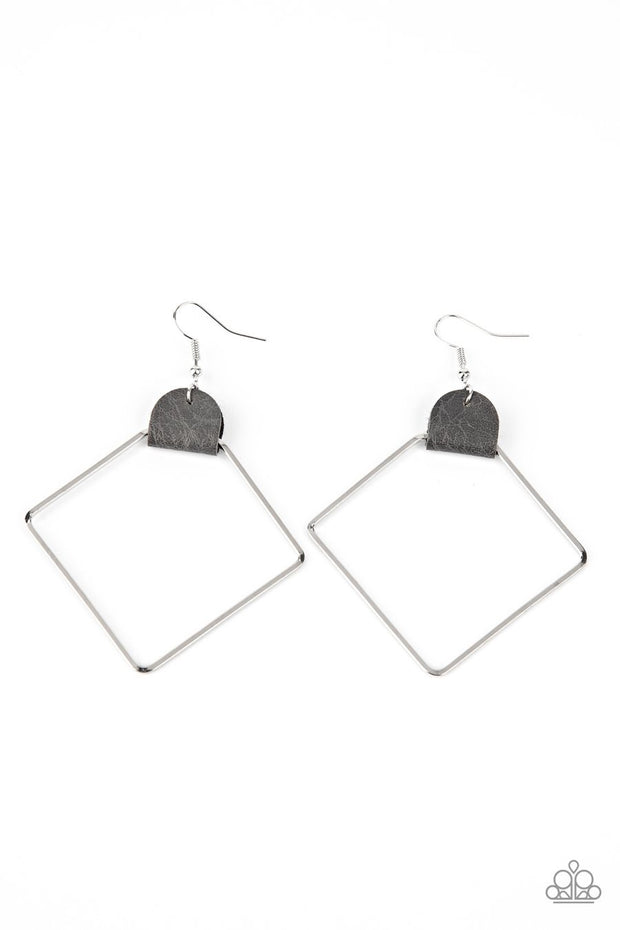 Paparazzi Friends of a LEATHER - Silver - Earrings