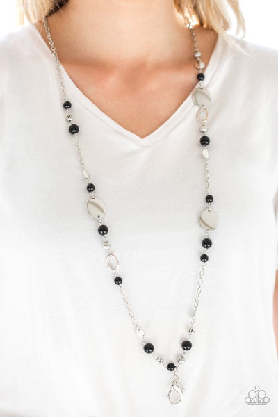 Serenely Springtime - black - Paparazzi LANYARD necklace - Glitzygals5dollarbling Paparazzi Boutique