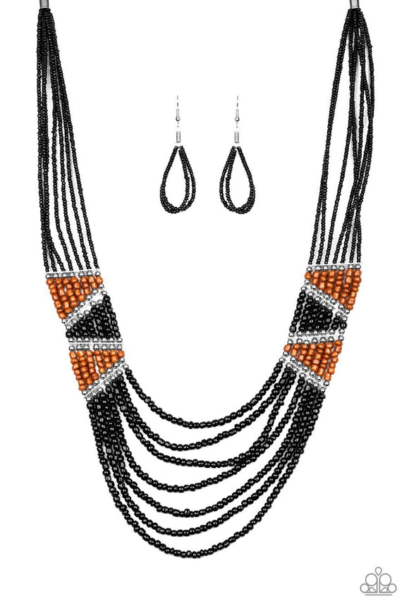 Paparazzi Kickin' It Outback Black Seed Bead Necklace
