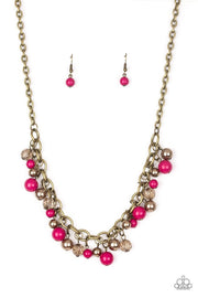 Paparazzi The GRIT Crowd - Pink Brass Necklace - Glitzygals5dollarbling Paparazzi Boutique