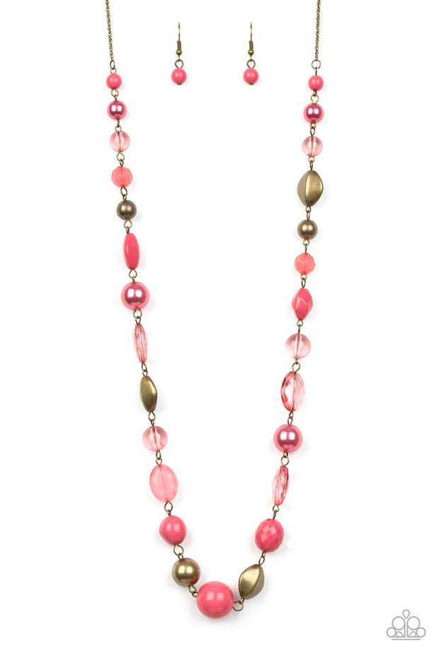 Paparazzi Secret Treasure - Pink - Pearly and Glassy Beads - Necklace and matching Earrings - Glitzygals5dollarbling Paparazzi Boutique