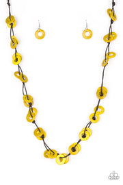 Paparazzi Waikiki Winds - Yellow Wooden Necklace and matching Earrings - Glitzygals5dollarbling Paparazzi Boutique
