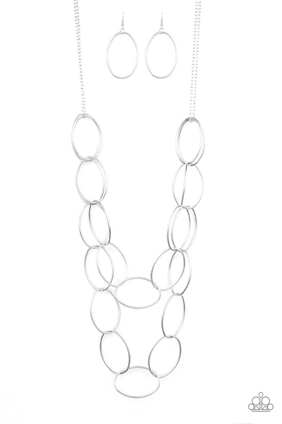 Paparazzi Move On OVAL! Silver Necklace