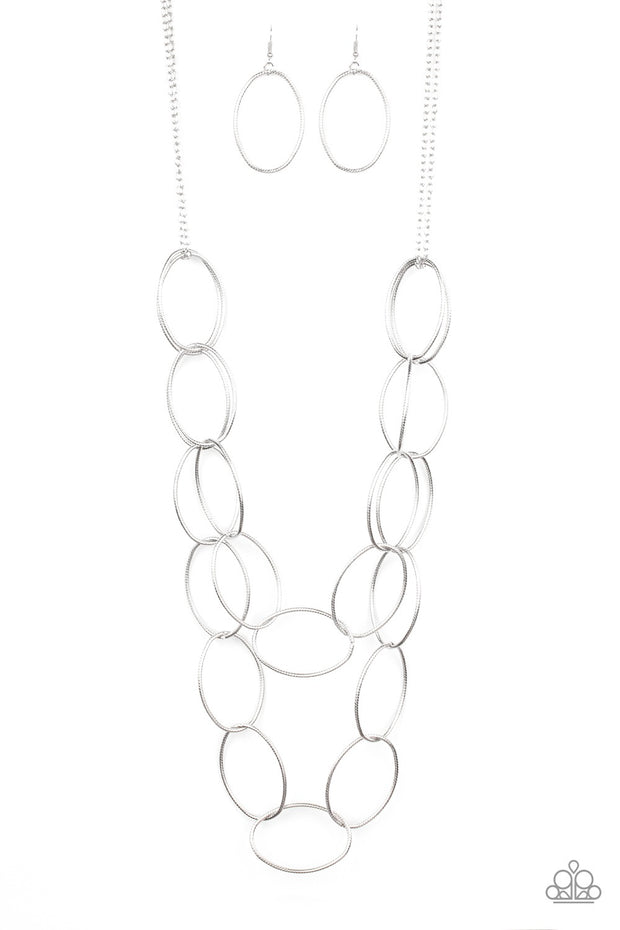 Paparazzi Move On OVAL! Silver Necklace - Glitzygals5dollarbling Paparazzi Boutique