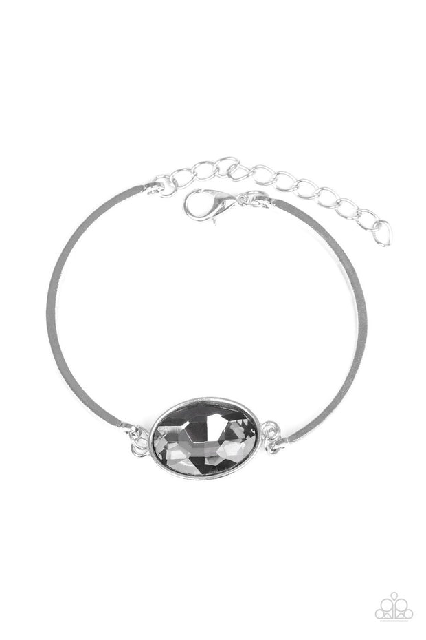 Paparazzi Definitely Dashing - Silver - Smoky Gem - Silver Bracelet
