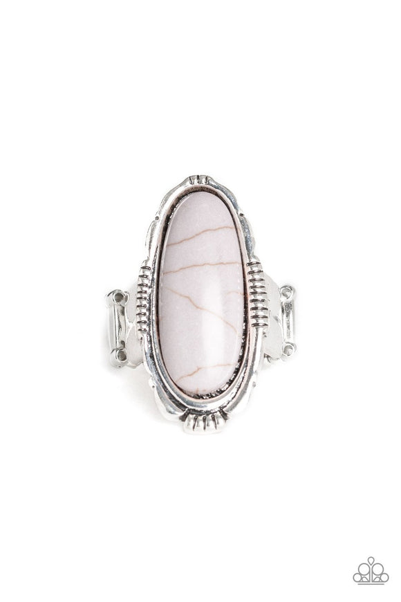 Paparazzi Desert Thirst - Silver Stone - Ornate Silver - Ring