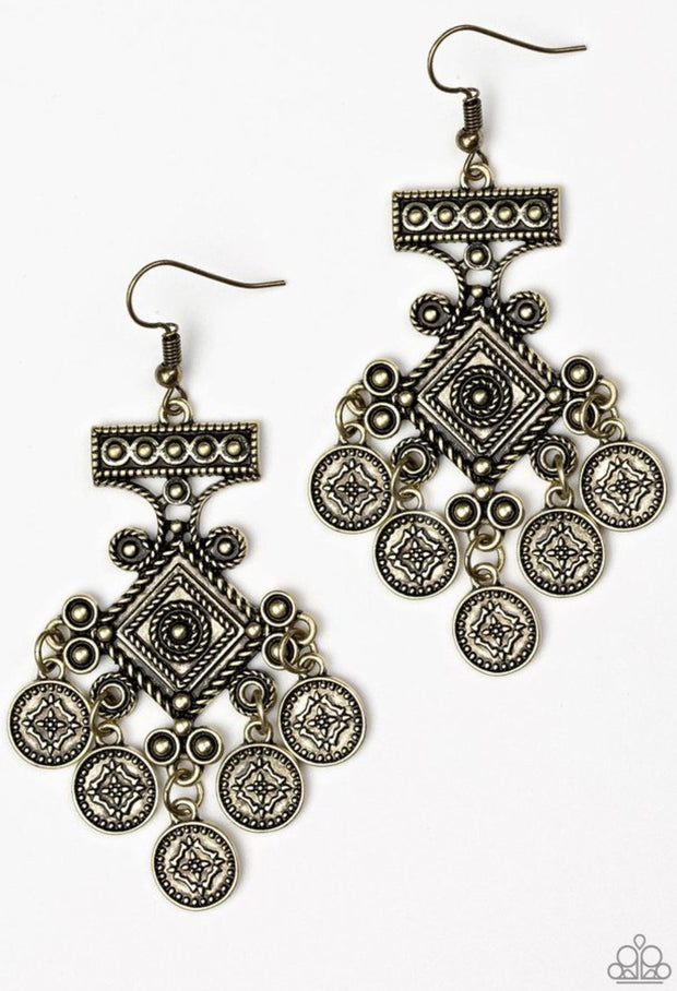 Paparazzi Unexplored Lands Brass Earring - Glitzygals5dollarbling Paparazzi Boutique