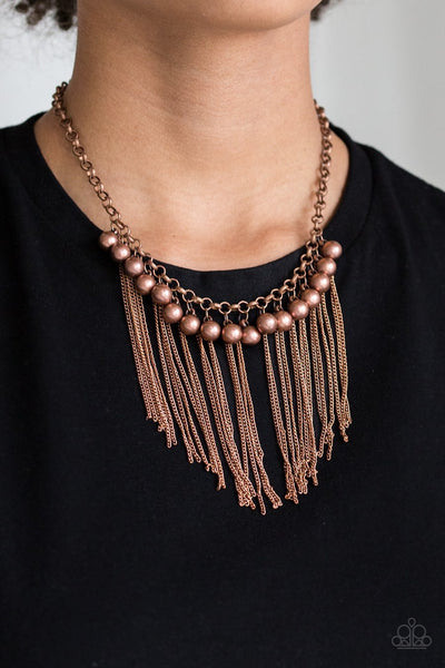 Paparazzi Powerhouse Prowl - Copper Beads - Fringe Necklace and matching Earrings - Glitzygals5dollarbling Paparazzi Boutique