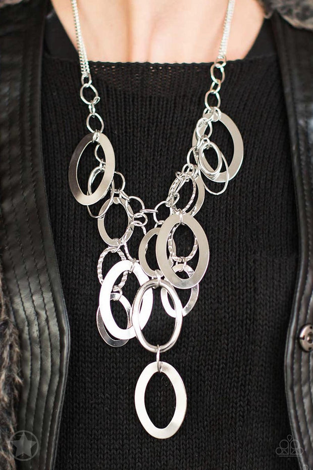 Paparazzi A Silver Spell - Silver - Blockbuster Necklace and matching Earrings - Glitzygals5dollarbling Paparazzi Boutique