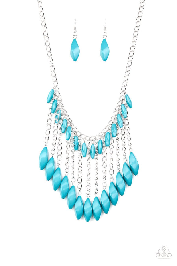 Paparazzi Venturous Vibes - BLUE - Faceted Beads - Shimmery Silver Chain Necklace & Earrings