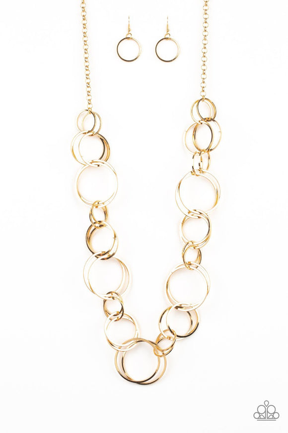 Paparazzi Natural-Born RINGLEADER - Gold Hoops - Thick Necklace and matching Earrings