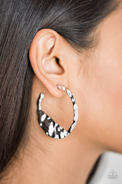 Paparazzi The Beast of Me Silver Hoop Earrings