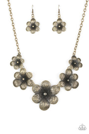 Paparazzi Secret Garden - Brass - Flowers - Necklace and matching Earrings - Glitzygals5dollarbling Paparazzi Boutique