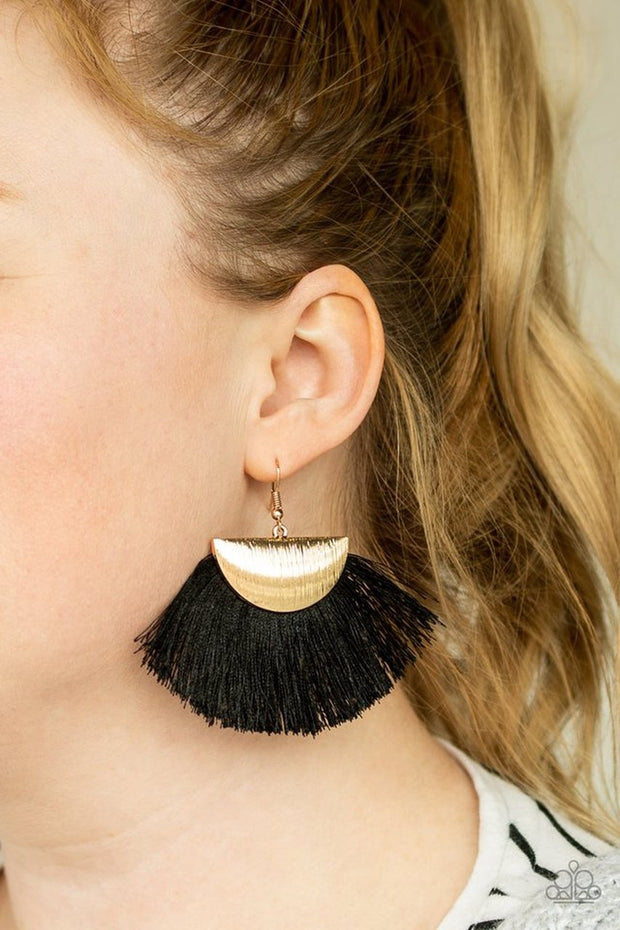 Paparazzi Fox Trap Gold Hook Black Fringe Earrings - Glitzygals5dollarbling Paparazzi Boutique