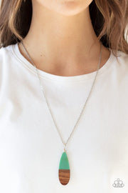 Paparazzi Going Overboard - Green - Wooden Pendant - Silver Chain Necklace & Earrings - Glitzygals5dollarbling Paparazzi Boutique