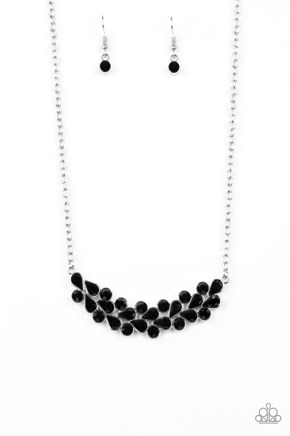 Paparazzi Special Treatment - Black - Rhinestones - Necklace & Earrings