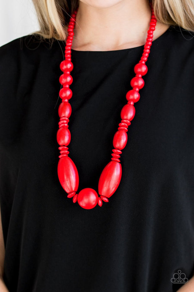 Paparazzi Summer Breezin - Red Wooden Beads - Necklace and matching Earrings - Glitzygals5dollarbling Paparazzi Boutique